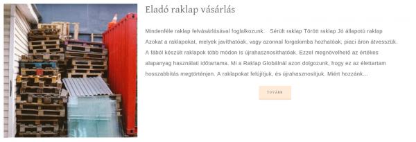 Eladó raklap webodlal