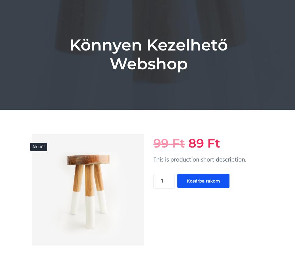 könnyen kezelhető webshop