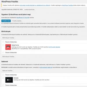 WordPress frissítés