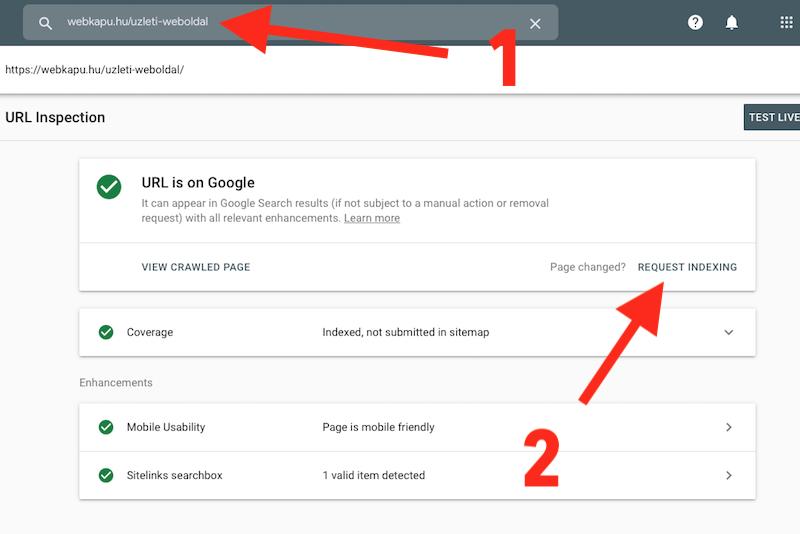 Google weboldal indexelés
